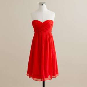 J.Crew Taryn Dress Vivid Poppy Silk Chiffon